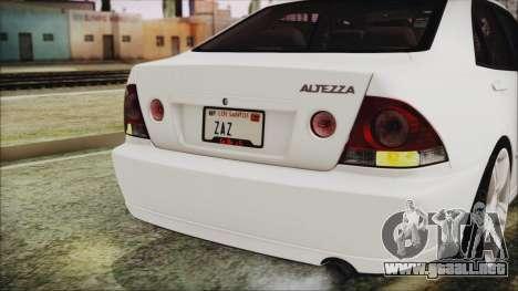 Toyota Altezza 2004 Full Tunable HQ para visión interna GTA San Andreas