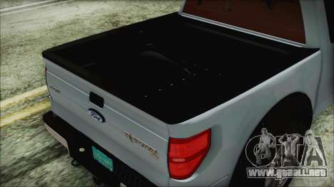 Ford F-150 SVT Raptor 2012 Stock Version para GTA San Andreas vista hacia atrás