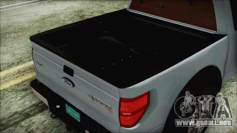 Ford F-150 SVT Raptor 2012 Stock Version para GTA San Andreas vista hacia atrás