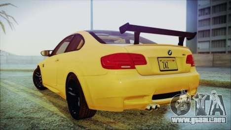 BMW M3 GTS 2011 IVF para GTA San Andreas vista posterior izquierda