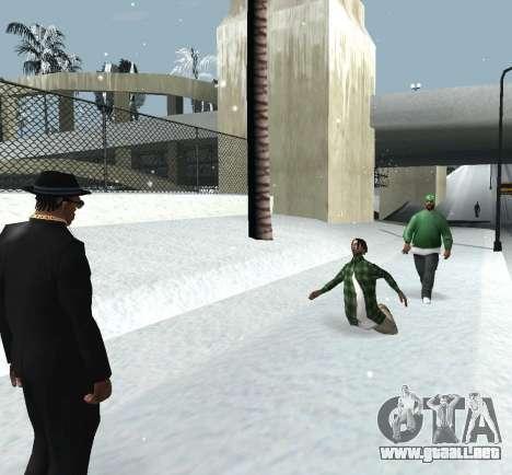 Lanzando la nieve para GTA San Andreas sucesivamente de pantalla
