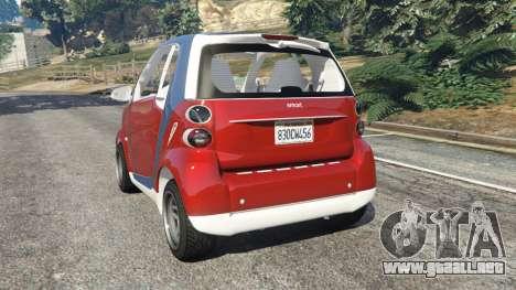 GTA 5 Smart ForTwo 2012 v0.1 vista lateral izquierda trasera