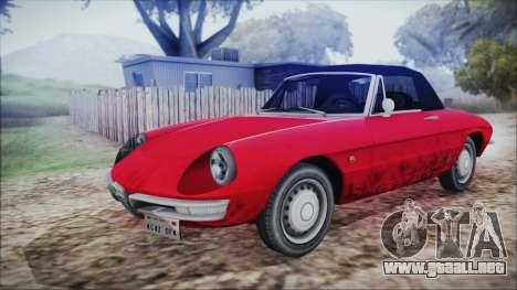 Alfa Romeo Spider Duetto 1966 para GTA San Andreas vista hacia atrás