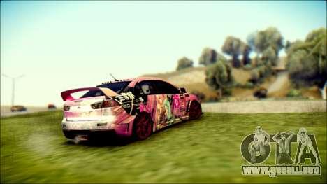 Mitsubishi Lancer Evolution Miku X Luka Itasha para GTA San Andreas left