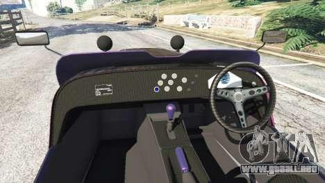 GTA 5 Caterham R500 2008 v0.5 vista lateral trasera derecha