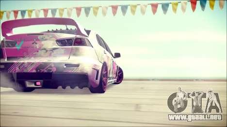 Mitsubishi Lancer Evolution Miku X Luka Itasha para GTA San Andreas vista posterior izquierda