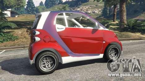 GTA 5 Smart ForTwo 2012 v0.1 vista lateral trasera derecha