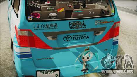 Toyota Alphard Hatsune Miku para GTA San Andreas vista hacia atrás
