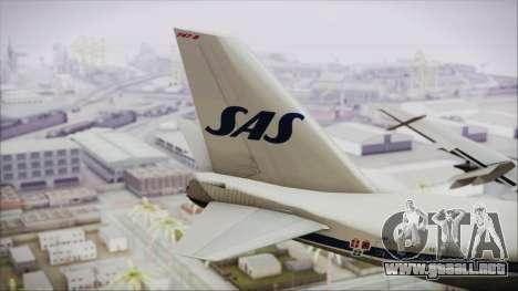 Boeing 747-283BM Scandinavian Airlines para GTA San Andreas vista posterior izquierda