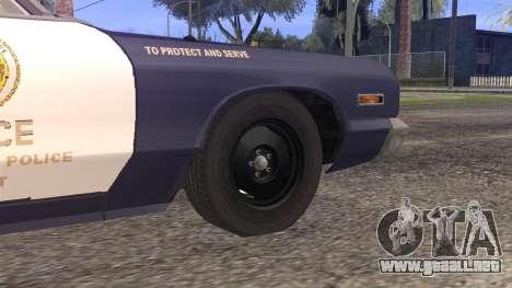 Dodge Monaco 1974 LSPD StickTop Version para GTA San Andreas vista posterior izquierda