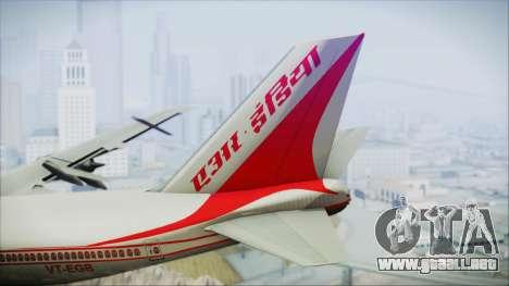 Boeing 747-237Bs Air India Mahendra Verman para GTA San Andreas vista posterior izquierda