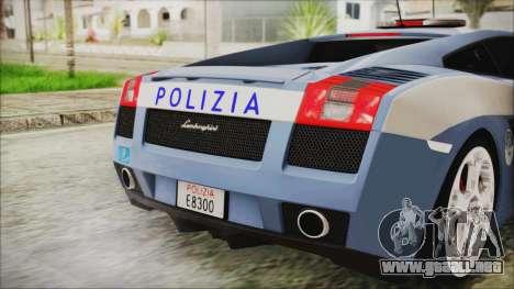 Lamborghini Gallardo 2004 Italian Polizia para GTA San Andreas vista hacia atrás