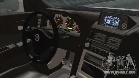 Nissan Skyline GT-R M-Spec Solo a 1999 para GTA San Andreas vista posterior izquierda
