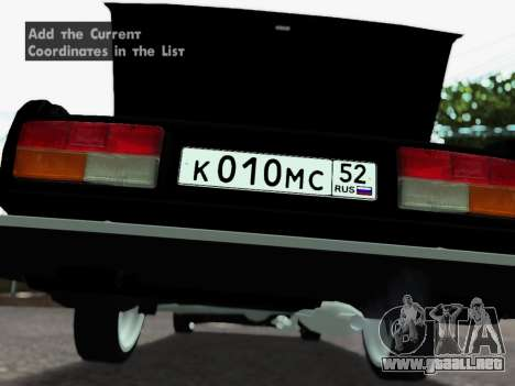 VAZ 2107-107 para visión interna GTA San Andreas