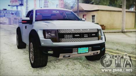 Ford F-150 SVT Raptor 2012 Stock Version para vista lateral GTA San Andreas