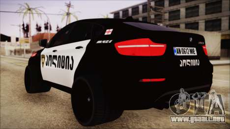 BMW X6 Georgia Police para GTA San Andreas left