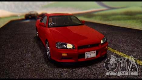 Nissan Skyline R-34 GT-R V-spec 1999 No Dirt para GTA San Andreas vista hacia atrás