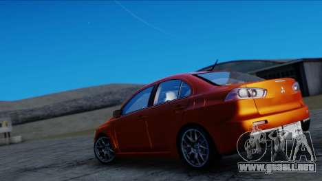 Mitsubishi Lancer Evolution X Tunable New PJ para GTA San Andreas vista posterior izquierda