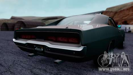 Dodge Charger RT 1970 FnF7 para GTA San Andreas vista posterior izquierda