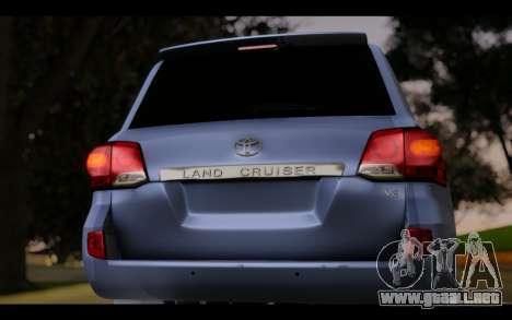 Toyota Land Cruiser 200 2013 Off Road para GTA San Andreas vista hacia atrás