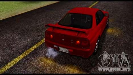 Nissan Skyline R-34 GT-R V-spec 1999 No Dirt para visión interna GTA San Andreas