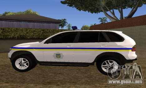 BMW X5 Ukranian Police para GTA San Andreas vista hacia atrás