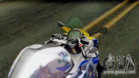 Yamaha YZF R-25 Kos-Mos Xenosaga Itasha 2014 para GTA San Andreas vista hacia atrás