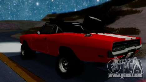 Dodge Charger 1969 Rusty Rebel para GTA San Andreas vista posterior izquierda