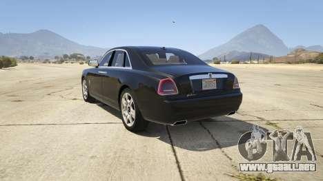 GTA 5 Rolls Royce Ghost 2014 vista lateral izquierda trasera