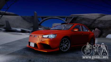 Mitsubishi Lancer Evolution X Tunable New PJ para visión interna GTA San Andreas