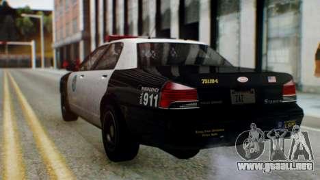 GTA 5 Vapid Stanier II Police para GTA San Andreas vista posterior izquierda