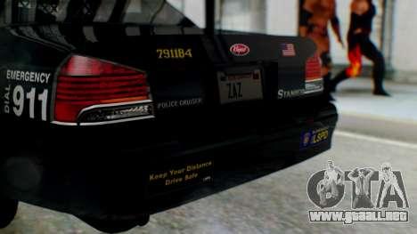GTA 5 Vapid Stanier II Police para GTA San Andreas vista hacia atrás