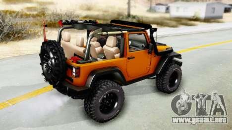 Jeep Wrangler Off Road para GTA San Andreas vista posterior izquierda