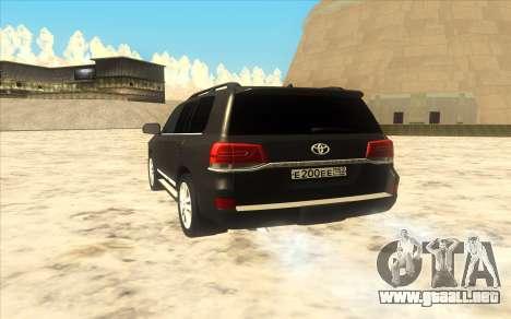 Toyota Land Cruiser 200 2016 para la visión correcta GTA San Andreas