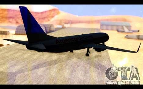 Boeing 737-800 American Airlines para GTA San Andreas vista posterior izquierda