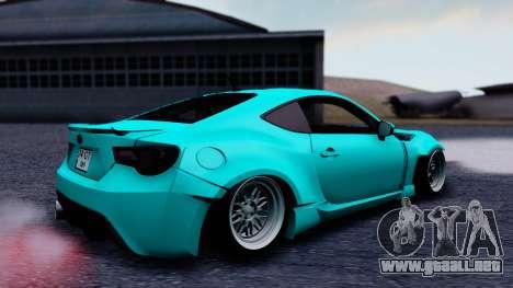 Toyota GT86 Rocket Bunny para GTA San Andreas vista posterior izquierda