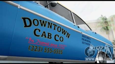 GTA 5 Declasse Cabbie v2 para GTA San Andreas vista posterior izquierda