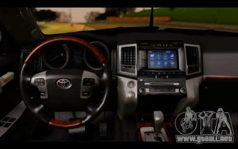 Toyota Land Cruiser 200 2013 Off Road para GTA San Andreas vista posterior izquierda