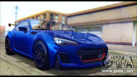 Subaru BRZ STi Concept 2016 para GTA San Andreas vista posterior izquierda