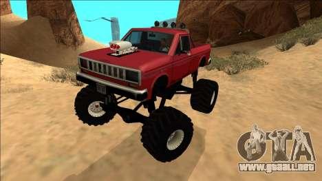 Bobcat Monster Truck para GTA San Andreas vista posterior izquierda