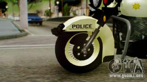 New Police Bike para GTA San Andreas vista posterior izquierda
