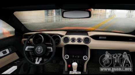 Ford Mustang Shelby GT350R 2016 para GTA San Andreas vista posterior izquierda