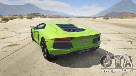 GTA 5 Lamborghini Aventador LP700-4 v.2.2 vista lateral izquierda trasera