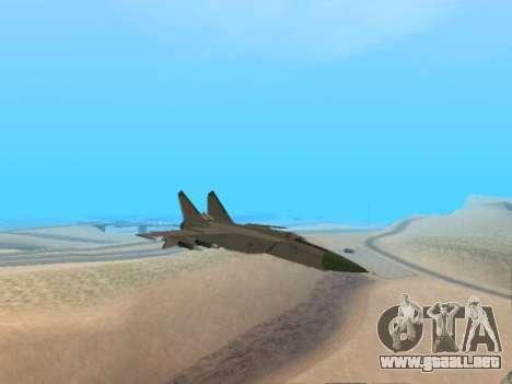 El MiG 25 para GTA San Andreas vista posterior izquierda