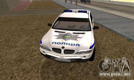 BMW X5 Ukranian Police para GTA San Andreas vista posterior izquierda
