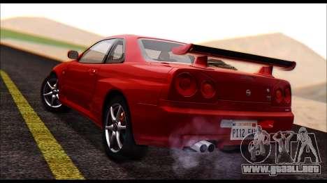 Nissan Skyline R-34 GT-R V-spec 1999 No Dirt para GTA San Andreas left