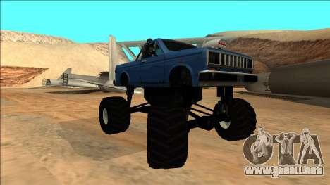 Bobcat Monster Truck para GTA San Andreas vista hacia atrás