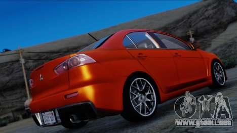 Mitsubishi Lancer Evolution X Tunable New PJ para GTA San Andreas left