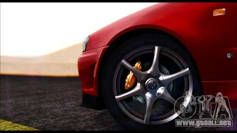Nissan Skyline R-34 GT-R V-spec 1999 No Dirt para GTA San Andreas vista posterior izquierda