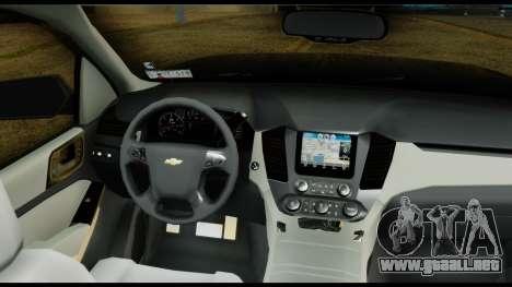 Chevrolet Tahoe 2015 para GTA San Andreas vista hacia atrás